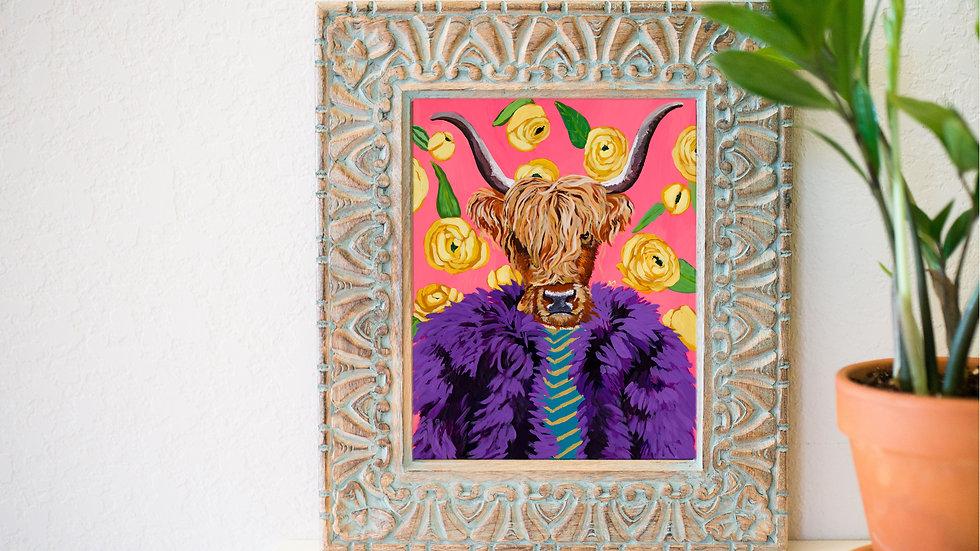 Fancy highland cow fine art print