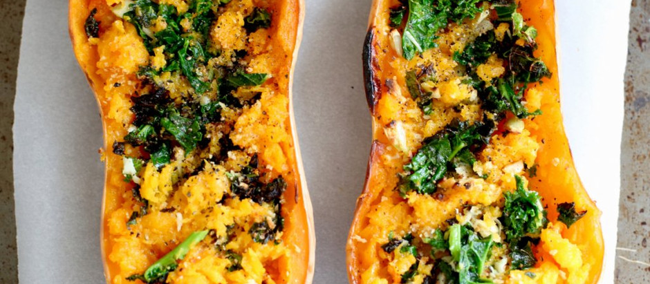 Butternut squash roasted and stuffed beyond recognition with all kinds…