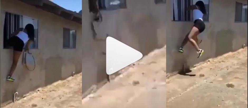 Side chick jumps 0ver the wind0w after wife of the man she was with came kn0cking at the door [video