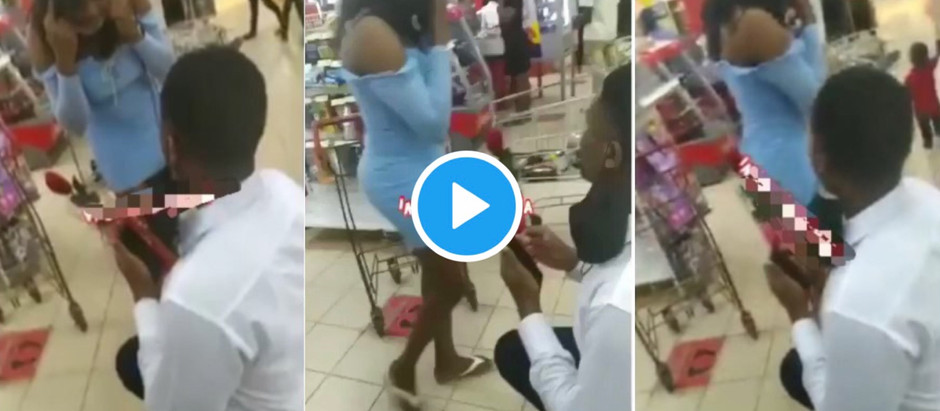 Video Of a lady walks out on man who proposed to her at a mall [Watch Video]