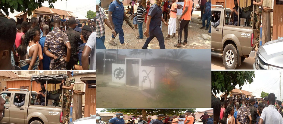 Otumfuo's shrine set on fire, police clash with angry* youth as they nearly burnt palace