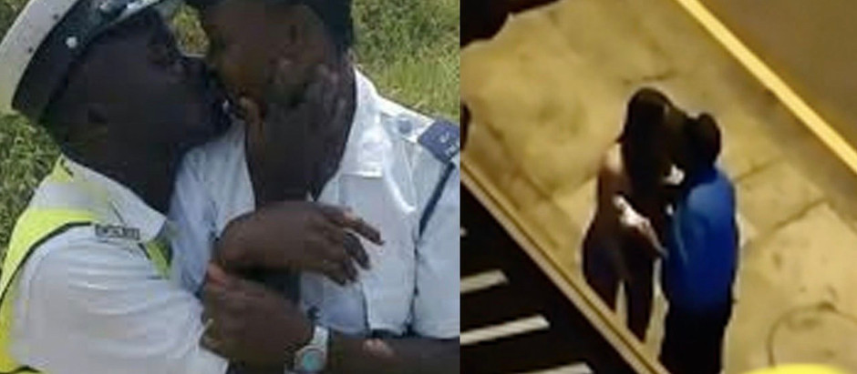 A Video Of Policeman caught on tape k!ssing  lady who flouted COVID-19 protocols [Watch Video]