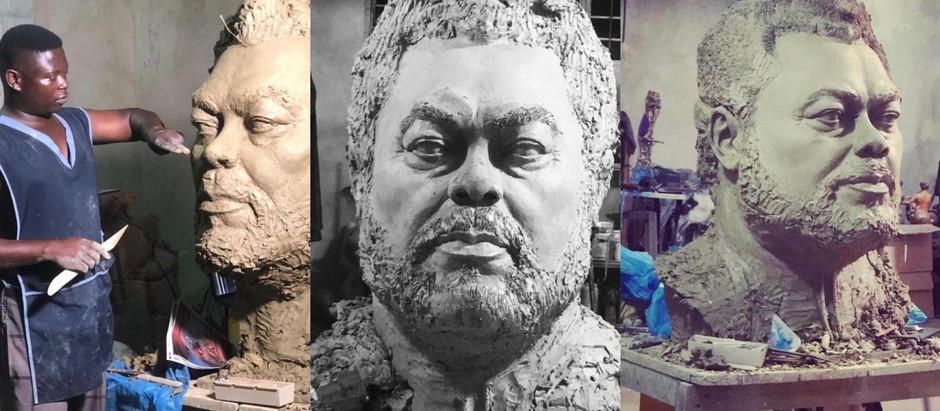 Man designs a sculpture of late JJ Rawlings [Photos]