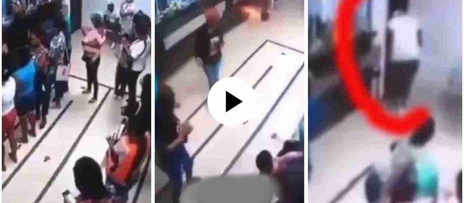 "Young man's 'China' phone catches fire in a Bank, he removes his ""Pant"" to save his P£n!s;[Watch Now"
