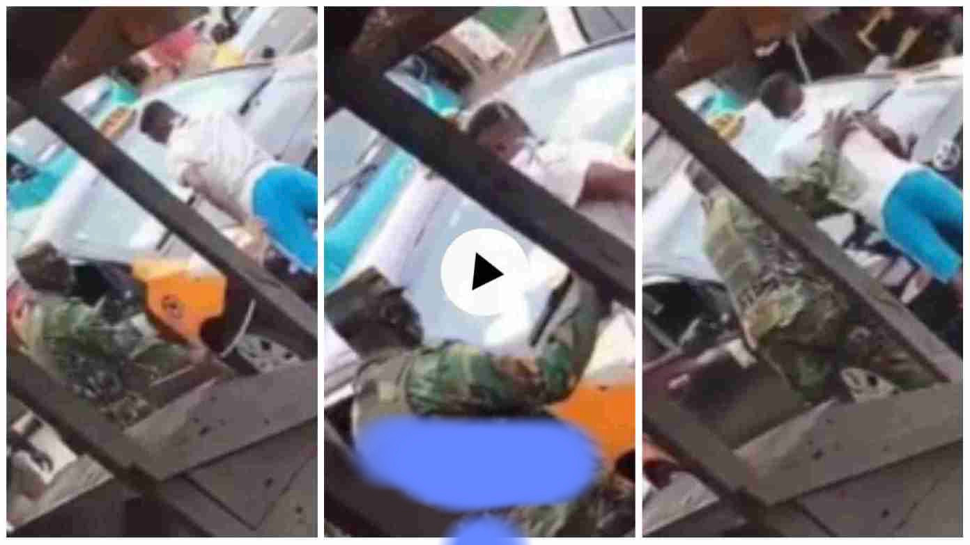 """Soldier lashes Taxi driver massively for not wearing """"nose mask"""", sad video  drops"""