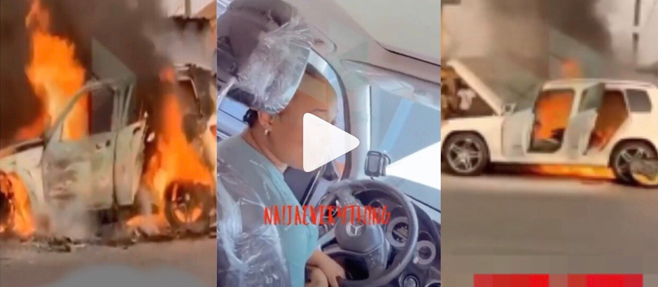 Lady's Mercedes benz worth ₦9m burnt to ashes 5 hours after she purchased it [Video]