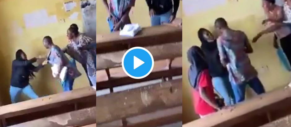 A Video Of Female University Student B3ating Lecturer Over Examination Trending On Social Media.