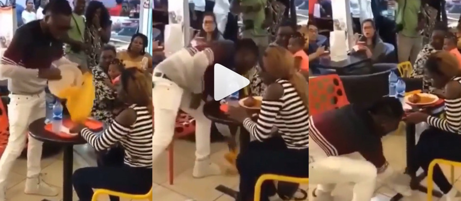 A video of angri!y man takes 0ff lady's sneakers and carr!es her food away as well in public [Watch]
