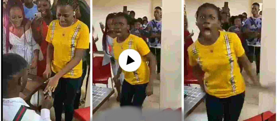 Lady runs mad immediately her boyfriend proposed to her; shocking video drops [Watch Now]