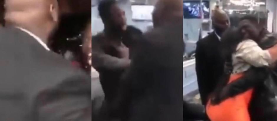 Man beats his friend for hugging his curvy wife too much [VIDEO]