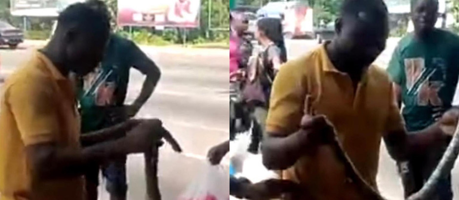 2 Sakawa boys fight Kasoa women for killing snake that crawled out of their Benz car & tried to vomi