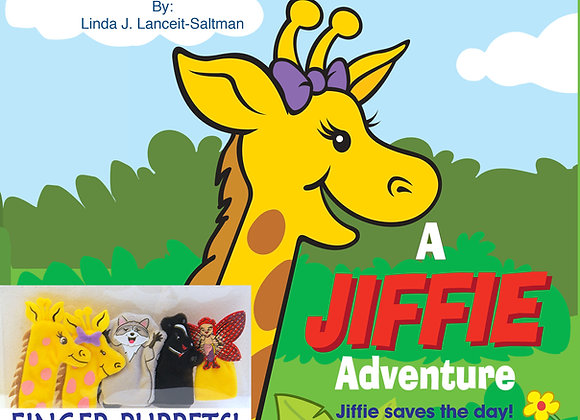 A Jiffie Adventure - Jiffie Saves the Day!  Book and Puppet set