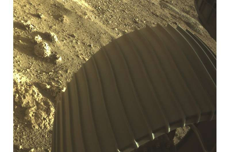 This photograph given by NASA shows one of the six wheels on the Perseverance Mars meanderer, which arrived on Thursday, Feb. 18, 2021. (NASA/JPL-Caltech through AP)