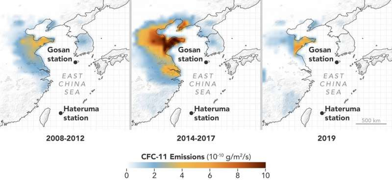 Emanations of CFC-11 expanded significantly in north-east China between 2008-2012 and 2014-2017 and fell back to these prior levels in 2019. Outflows are packed in the Chinese areas of Shandong and Hebei. Credit: AGAGE/NASA Earth Observatory, earthobservatory.nasa.gov/