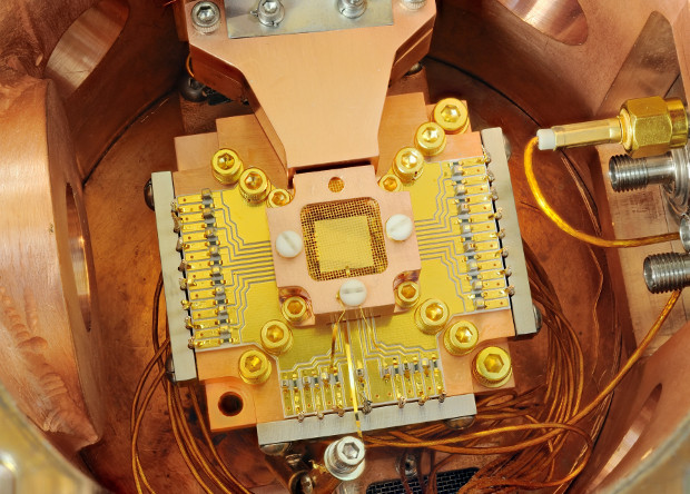 Ion trap used in a quantum computer / Wikimedia Commons