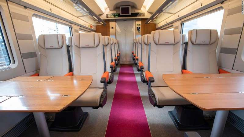 © Courtesy Renfe Avlo trains are furnished with 438 seats and have programmed candy machines with beverages and snacks installed.