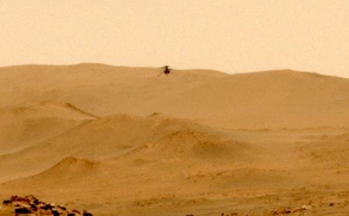Mars helicopter Ingenuity moved to a new site during the fifth test flight