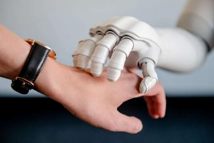 The touch of a conversational robot is associated with a positive emotional state
