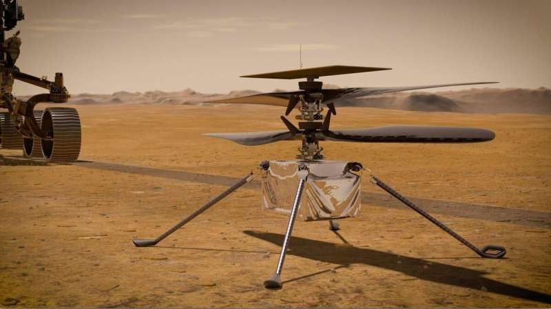 In this delineation, NASA's Ingenuity Mars Helicopter remains on the Red Planet's surface as NASA's Perseverance meanderer (mostly noticeable on the left) rolls away. Credit: NASA/JPL-Caltech