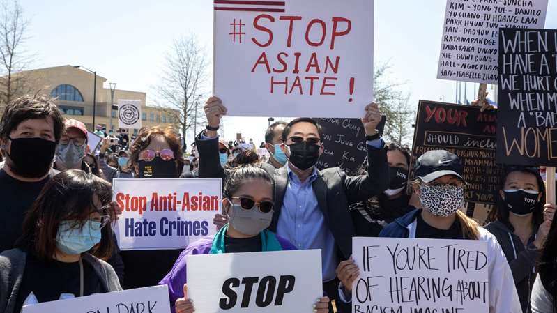 © Gina Moon for The New York Times A group gathered on Saturday to protest the killing of eight people, six of them of Asian descent, in Atlanta.