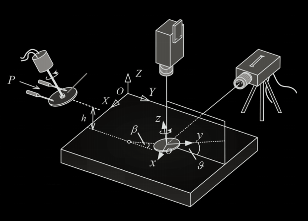 Experimental installation scheme: The promoted disk rushes to the surface of the liquid under the pressure of the air, and its movement is tracked by high-speed cameras. / Jie Tang et al. / Physics of Fluids, 2021