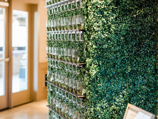 Champagne wall to greet your guests prior to your ceremony