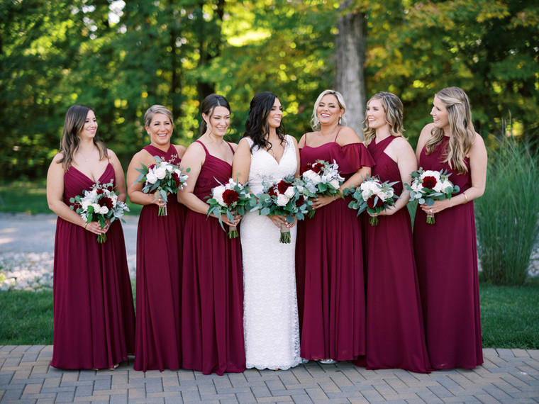 Bridal Party at Fall Wedding