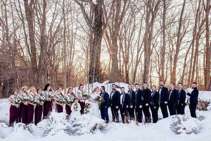 Wedding Party Photos at Winter Wedding