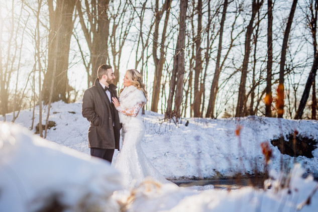 Snowy Wedding Photo of Bride and Groom