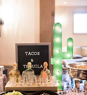 Tacos and tequila cocktail hour food station wedding NJ.