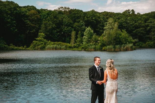 Bride & Groom at Lakefront Wedding