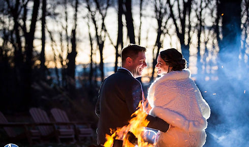 Winter wedding in NJ with outdoor firepit.