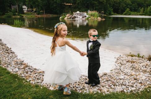 Ring Bearer & Flower Girl at Lakeside Ceremony