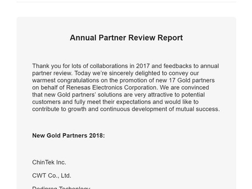 恭賀! 凱登智動科技入選瑞薩(Renesas) New Gold Partners 2018