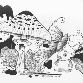 Goldfish with mushroom