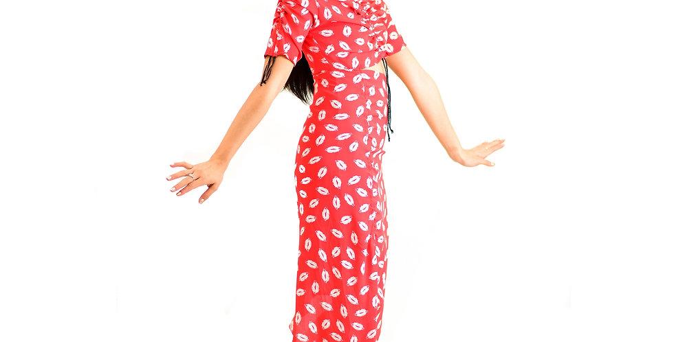 Ruffled gathered printed silk midi dress