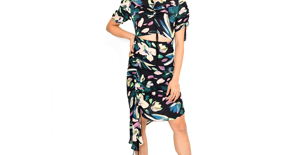 Ruffled gathered floral printed silk midi Ellie Dress