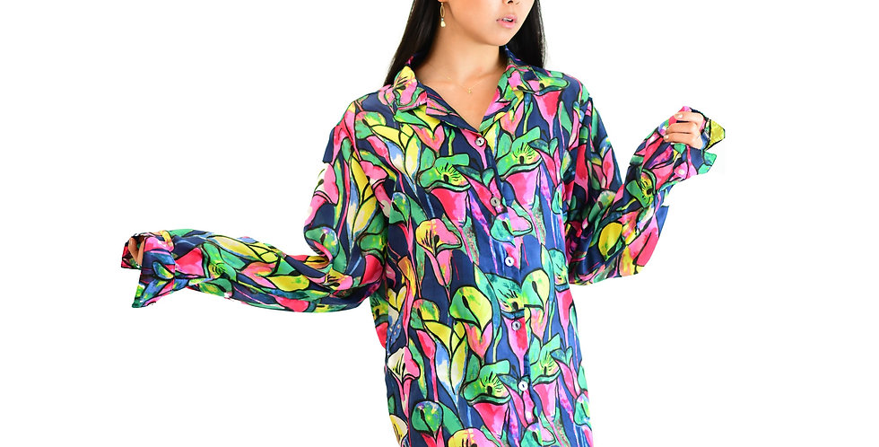 Floral tulip print-crepe de chine silk shirt