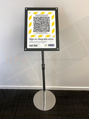 Free Standing Acrylic (A4) Sign Holder with Chrome Pole and Base
