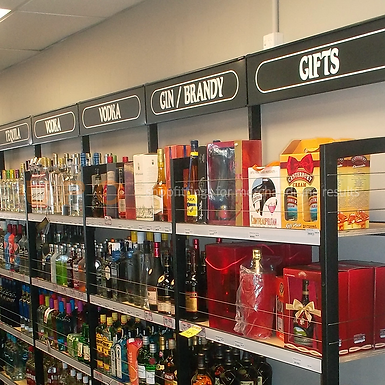 Sign Panel for Spirit and Wine Shelving