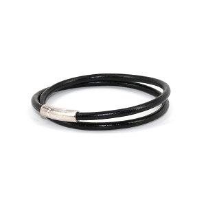 Torino Leather - The Orbit Double Wrap Leather Bracelet Black