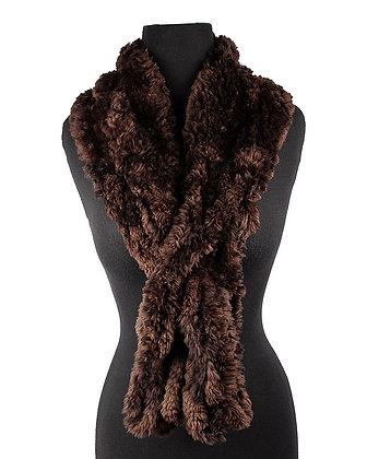 Paula Lishman - Ombre Cognac Crochet Fringe Beaver Scarf