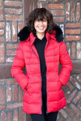 Chosen Furs - The Eva Hip Length Down with Fox Trim