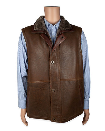 Aston - Mens Shearling Vest With Lambskin Trim