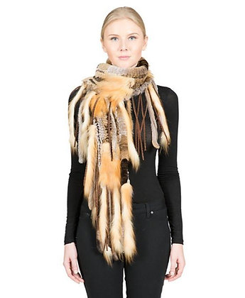 Belle Fare - Knitted Rex Rabbit and Red Fox Scarf with Fringe