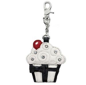 Brighton - Black and White Cupcake Key Fob