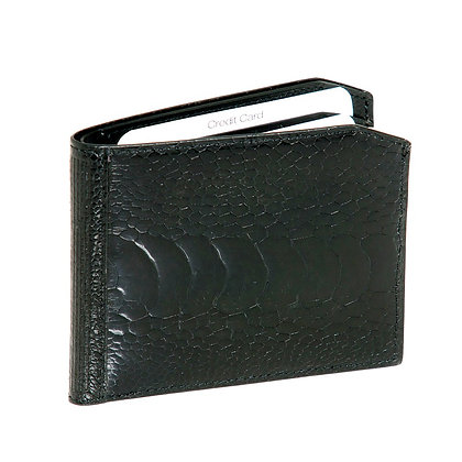 Kulu -  Mens Black Ostrich Shin Wallet