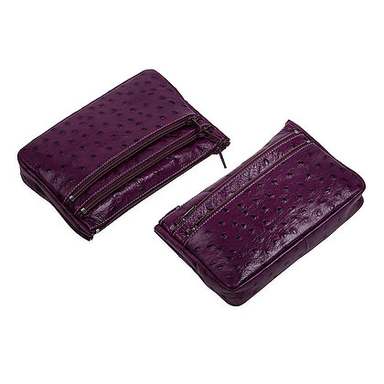 Antonini -  Italian Three Zipper Pouch with Embossed Ostrich