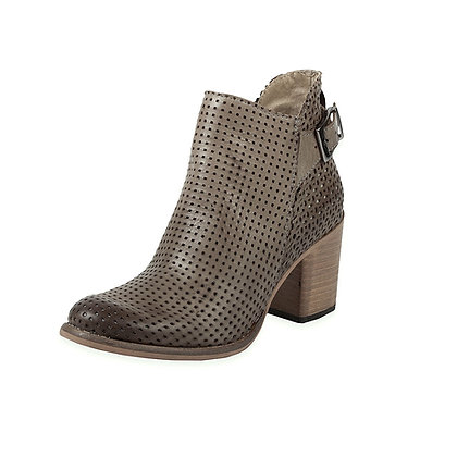 Rover Perforated SideZip Boot w Chunk Heel