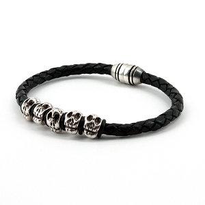 Torino Leather - Braided Leather with Skulls Bracelet